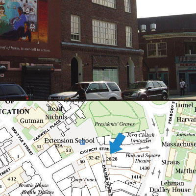 A dual image with a photo of the 26 Church St. office on top and a map of the location below.