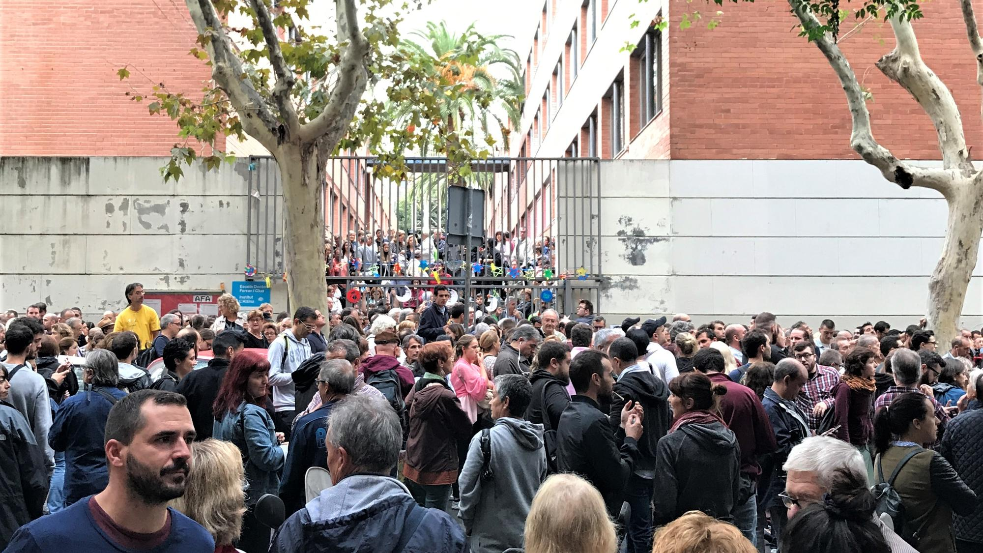 Crowds gather at a polling place during the 2017 Catalan referendum