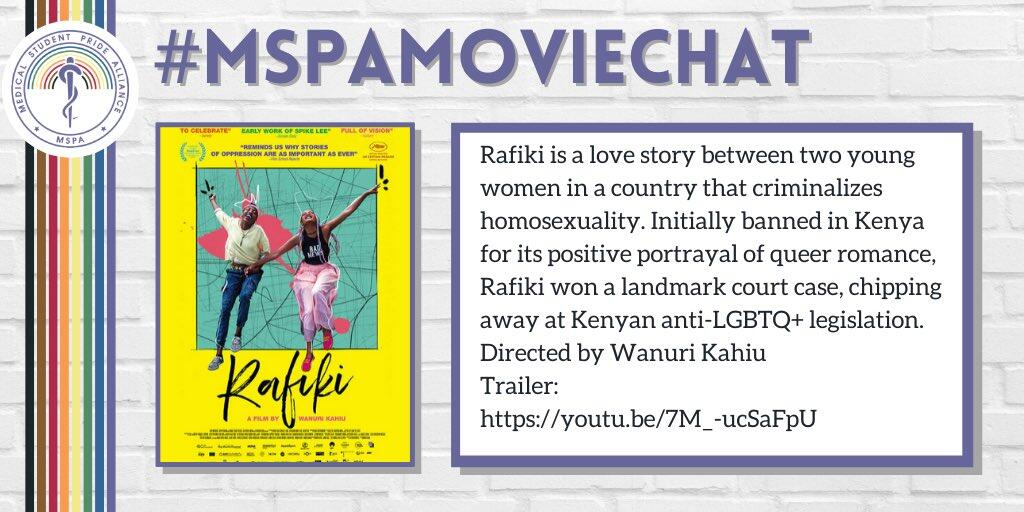 Photo of movie poster for Rafiki. Text provides information about event. Text is transcribed below.