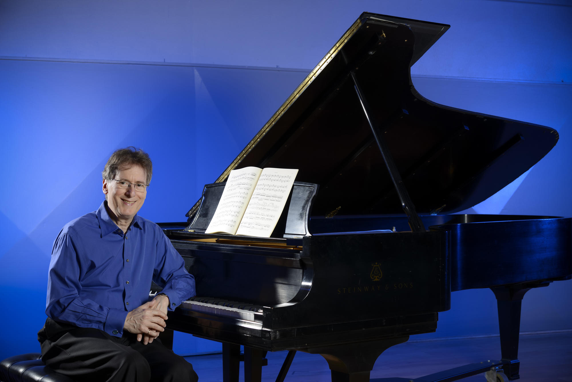 Robert Levin at his piano