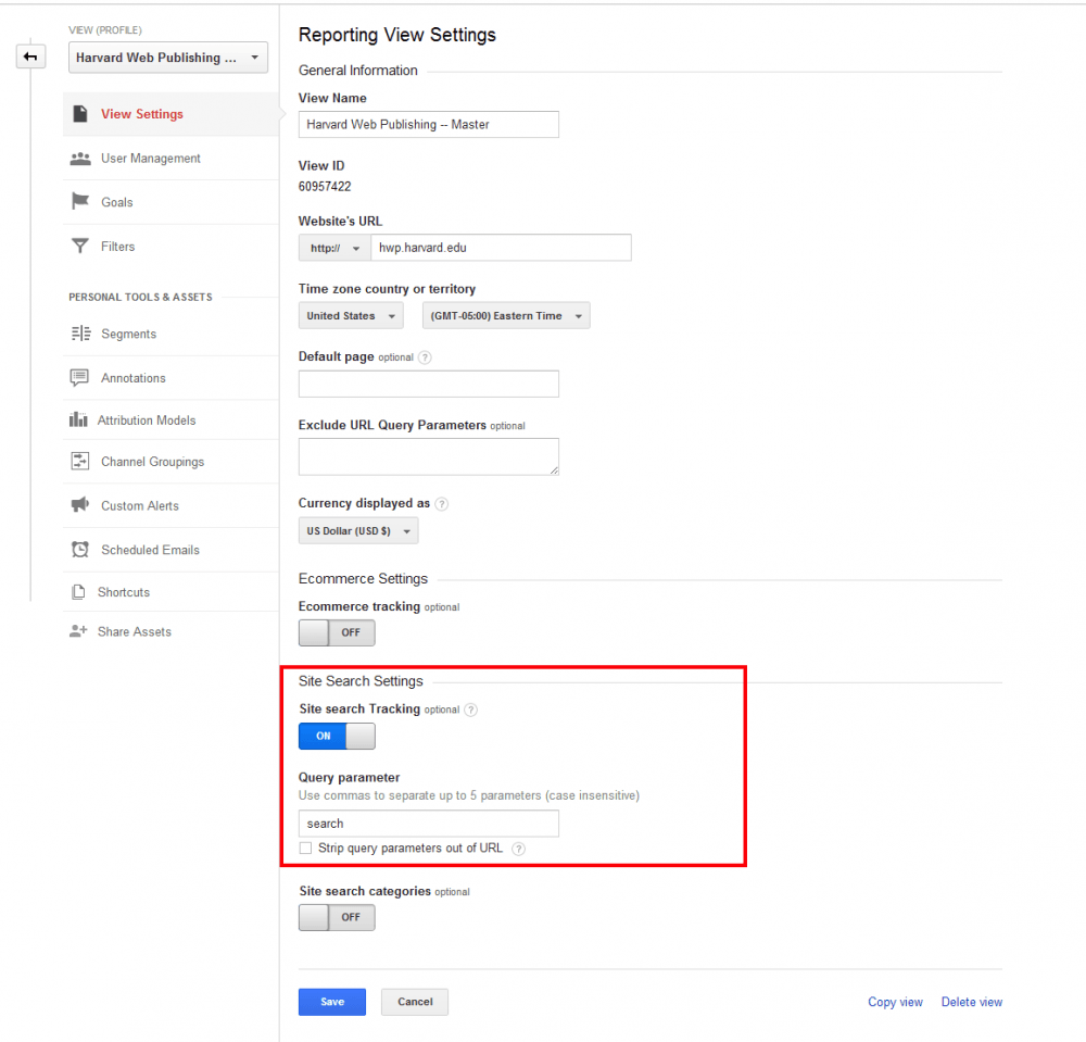 Configure Google Analytics site search