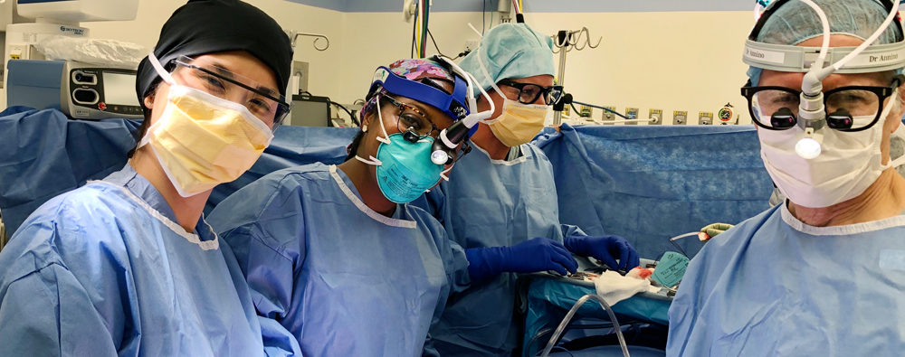 Harvard Otolaryngology residents assist during a surgery in operation room