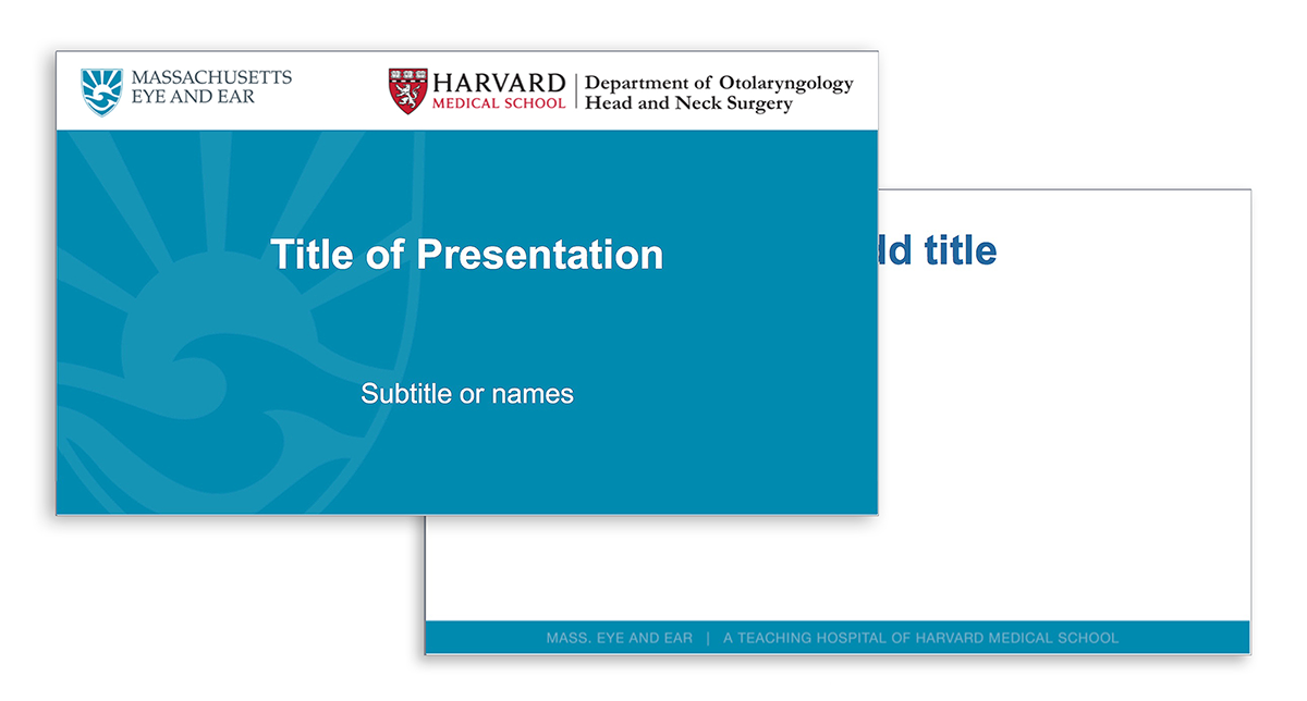 Blue Harvard Otolaryngology Mass Eye and Ear PowerPoint template