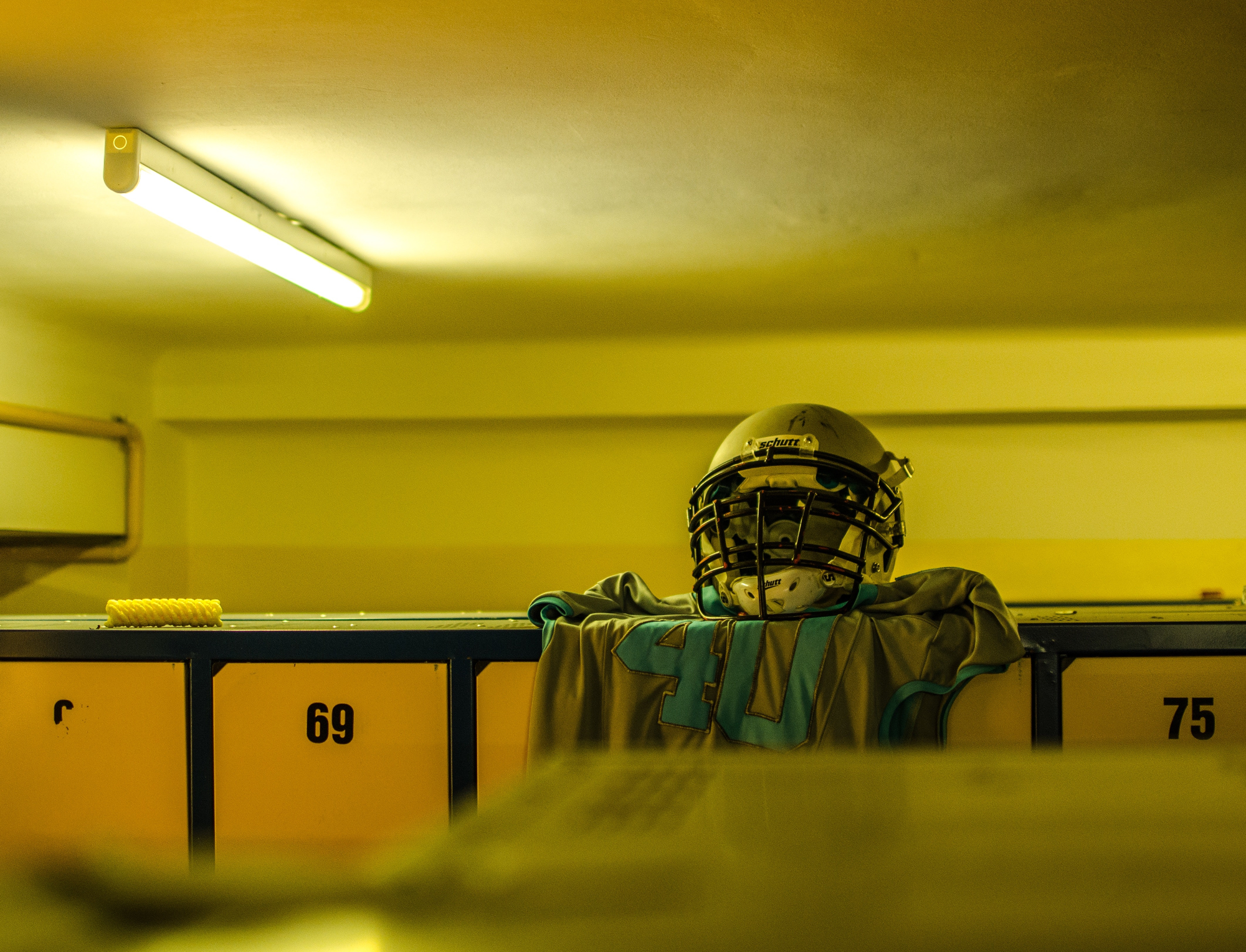 Jersey draped over lockers