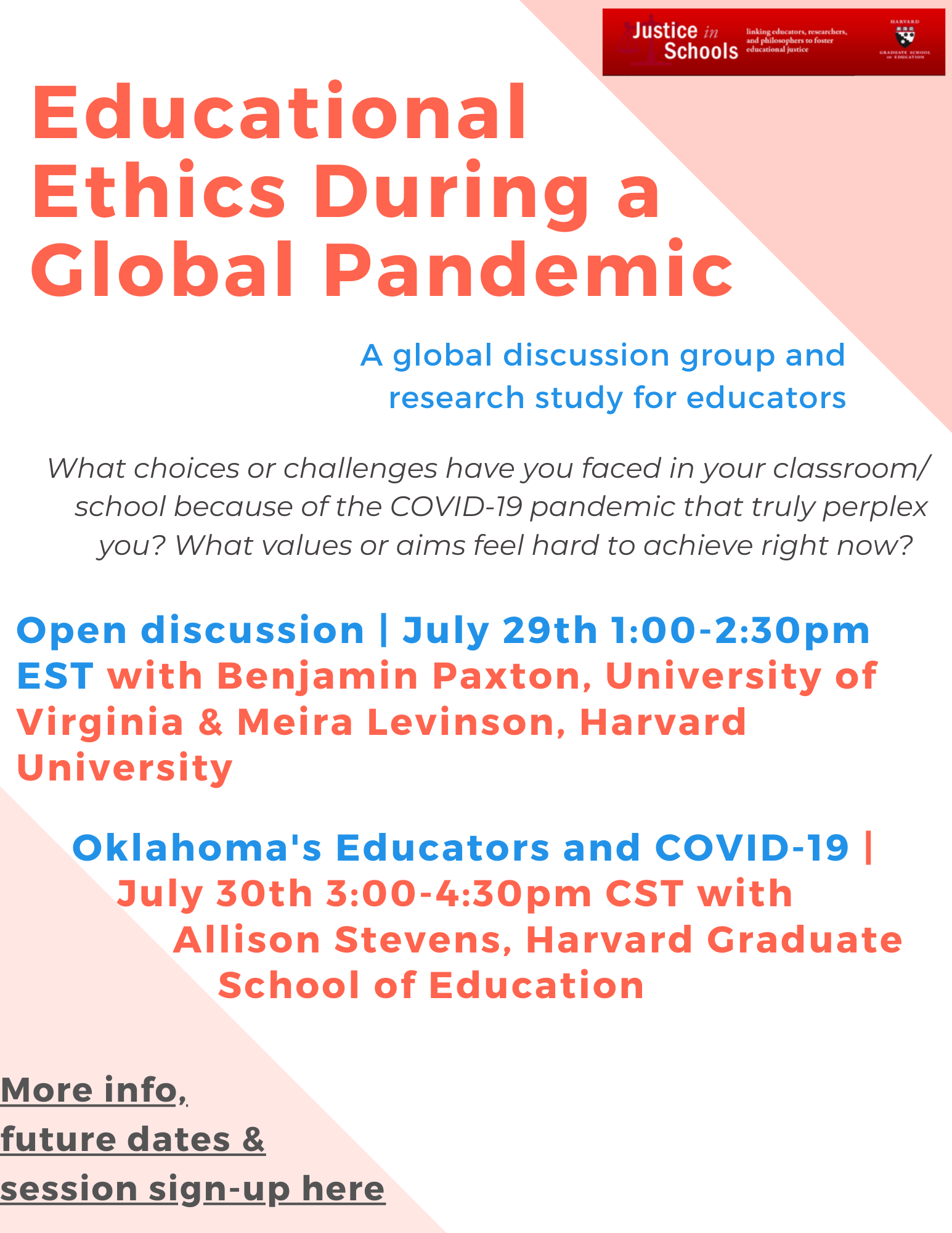 Educational Ethics in a Global Pandemic Flyer with Session Information