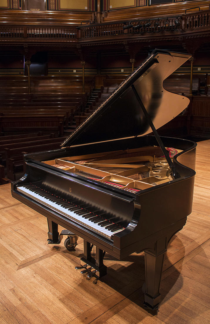 Concert grand piano on Sanders Theatre stage