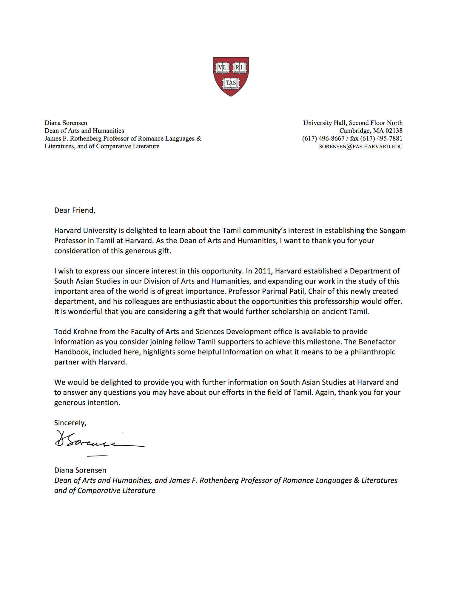 Letter from Diana Sorensen, Dean of Arts and Humanities