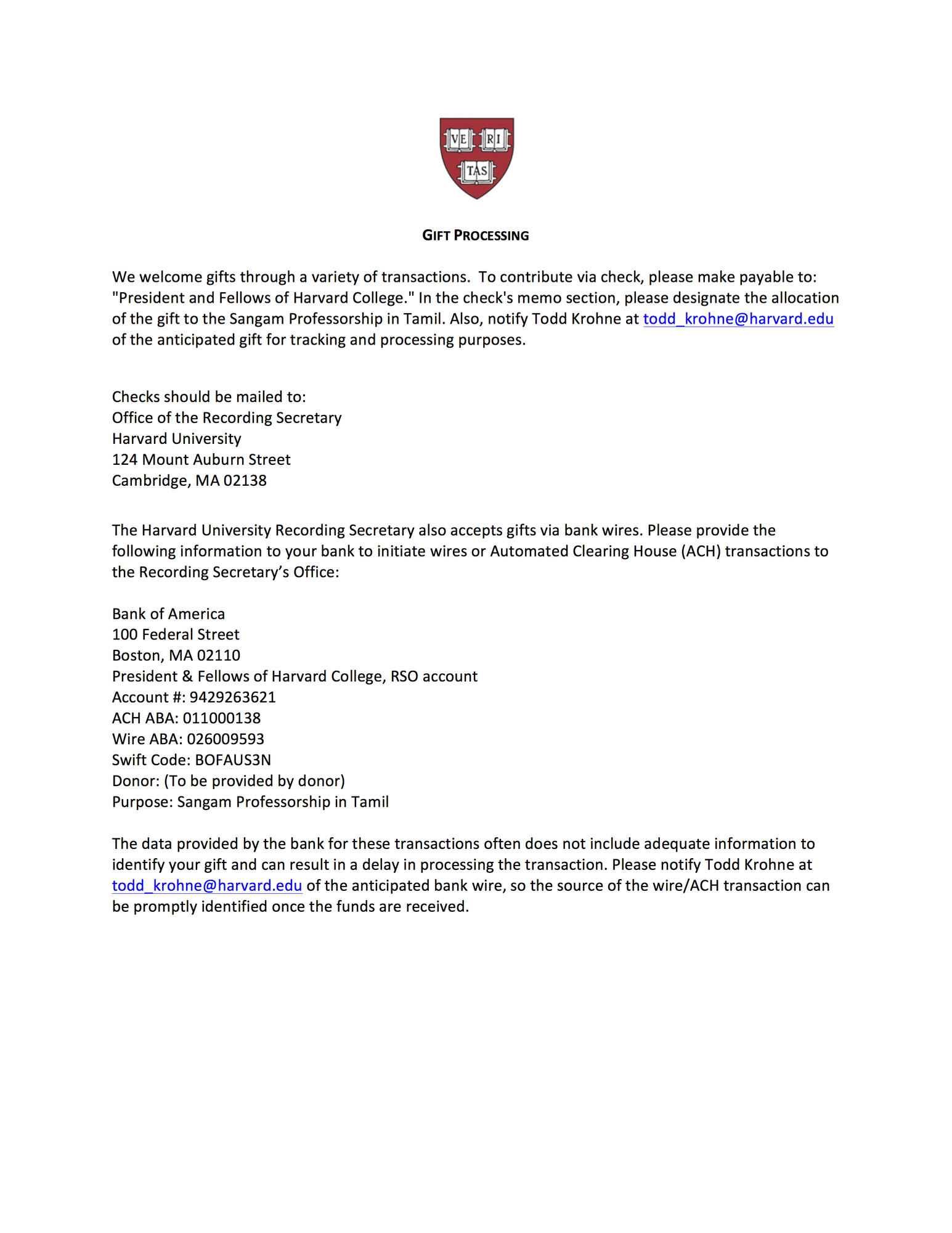 Instructions for sending your pledge agreement and your gifts to Harvard University