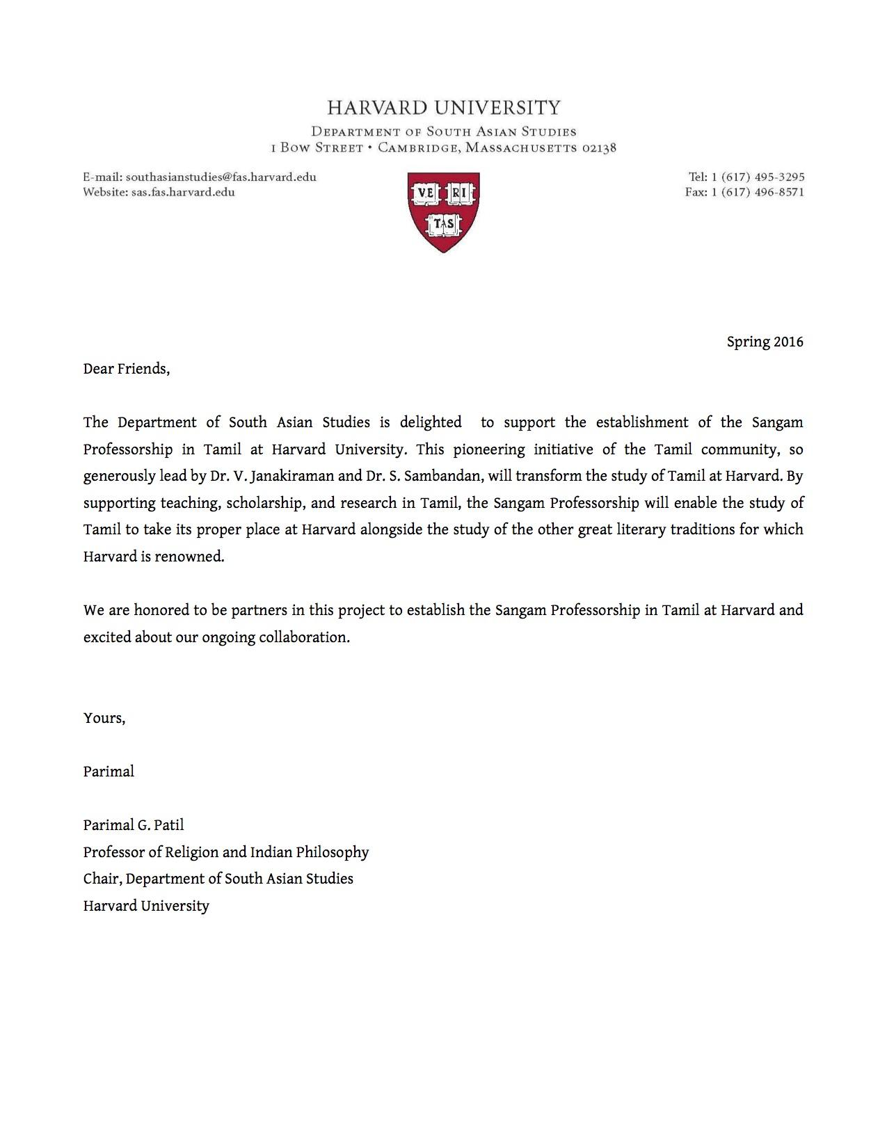 Letter from Parimal G. Patil, Chair, Department of South Asian Studies