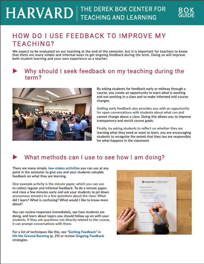 How do I use feedback to improve my teaching Bok Guide