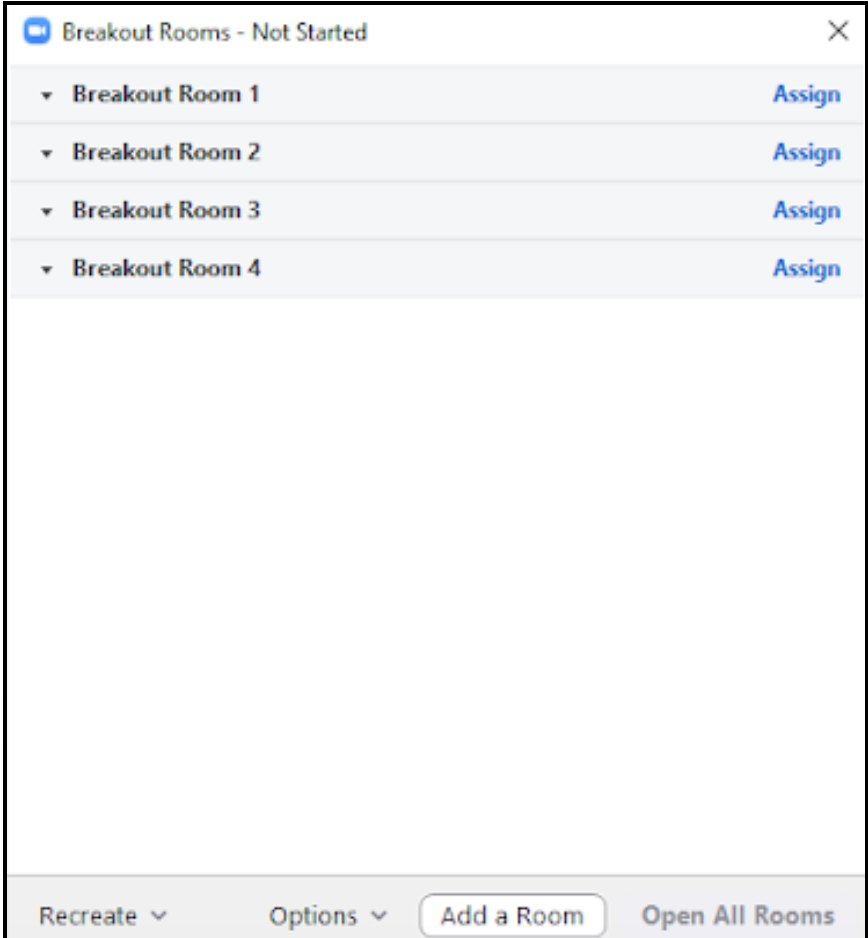 Breakout rooms assignment dialog