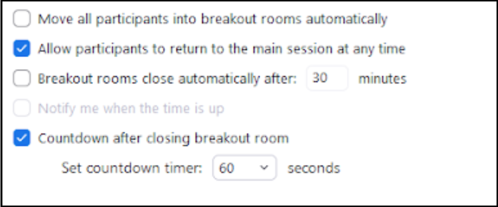 Breakout rooms option dialog