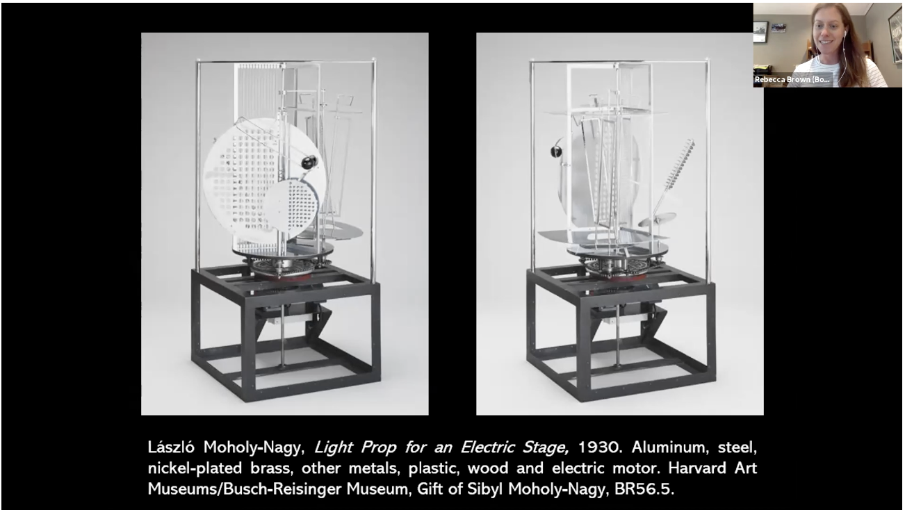 Rebecca Brown discusses a Lazlo Moholy-Nagy art piece over Zoom.