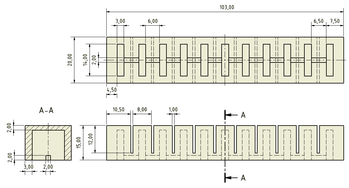 This image contains dimensioned drawings of the main body of the PneuNet actuator