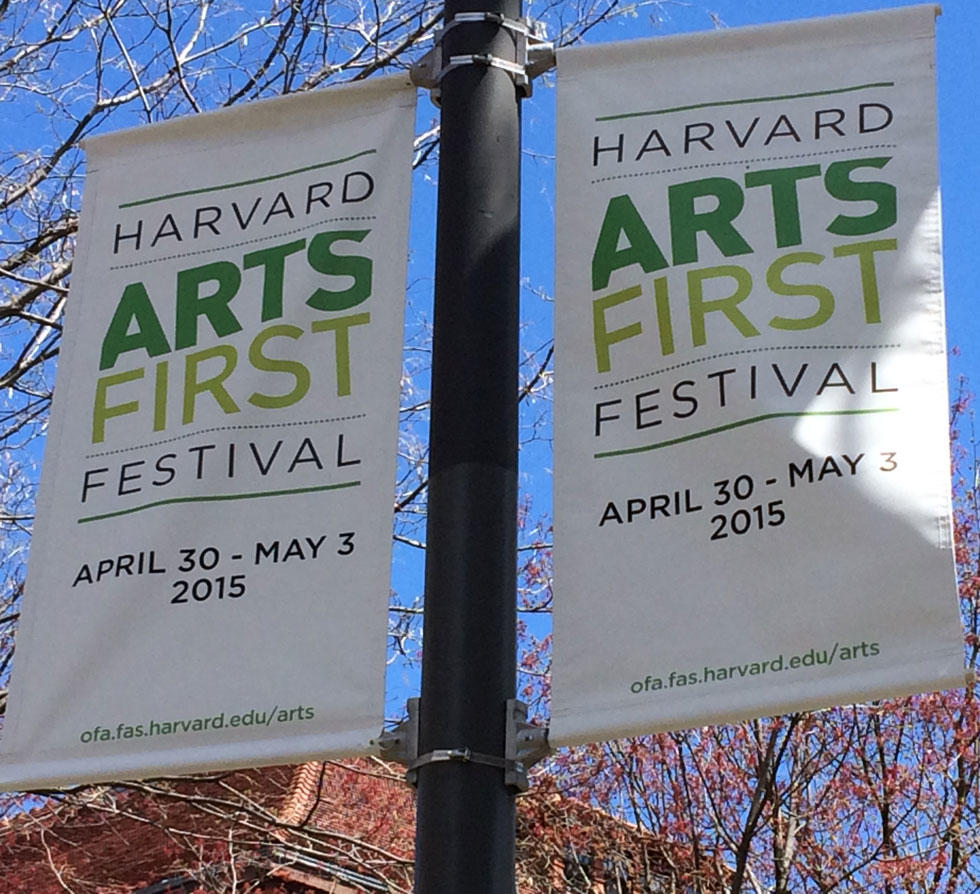 Banners for Harvard's 2015 Arts First Festival