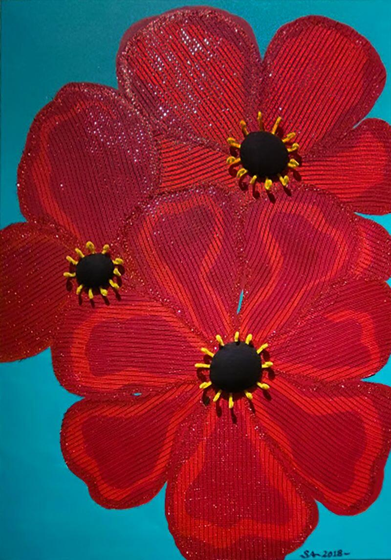 Painting of large red flowers on a turquoise ground with sheer shimmer fabric, 3-D black velvet buttons and yellow pipe-cleaner details.