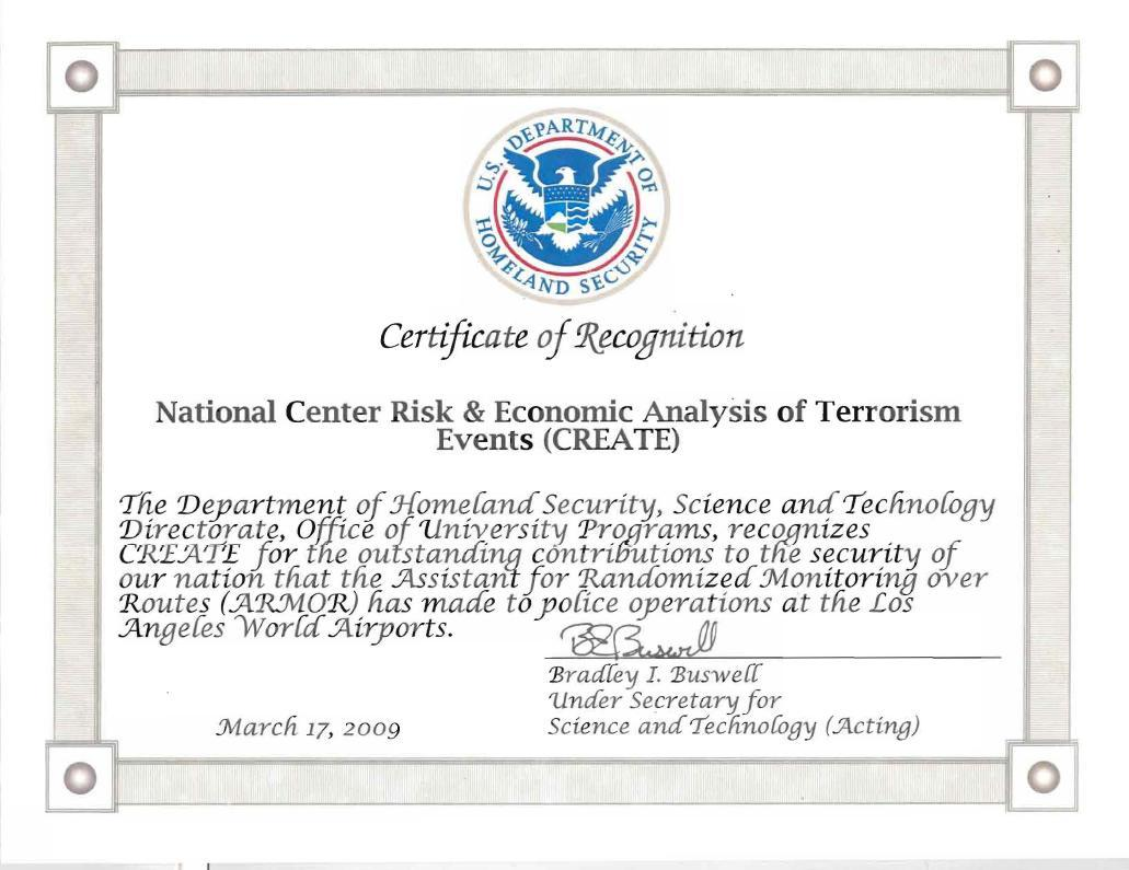 2009 Certificate of Recognition for ARMOR to CREATE by Department of Homeland Security, Science and Technology Directorate, Office of University Programs