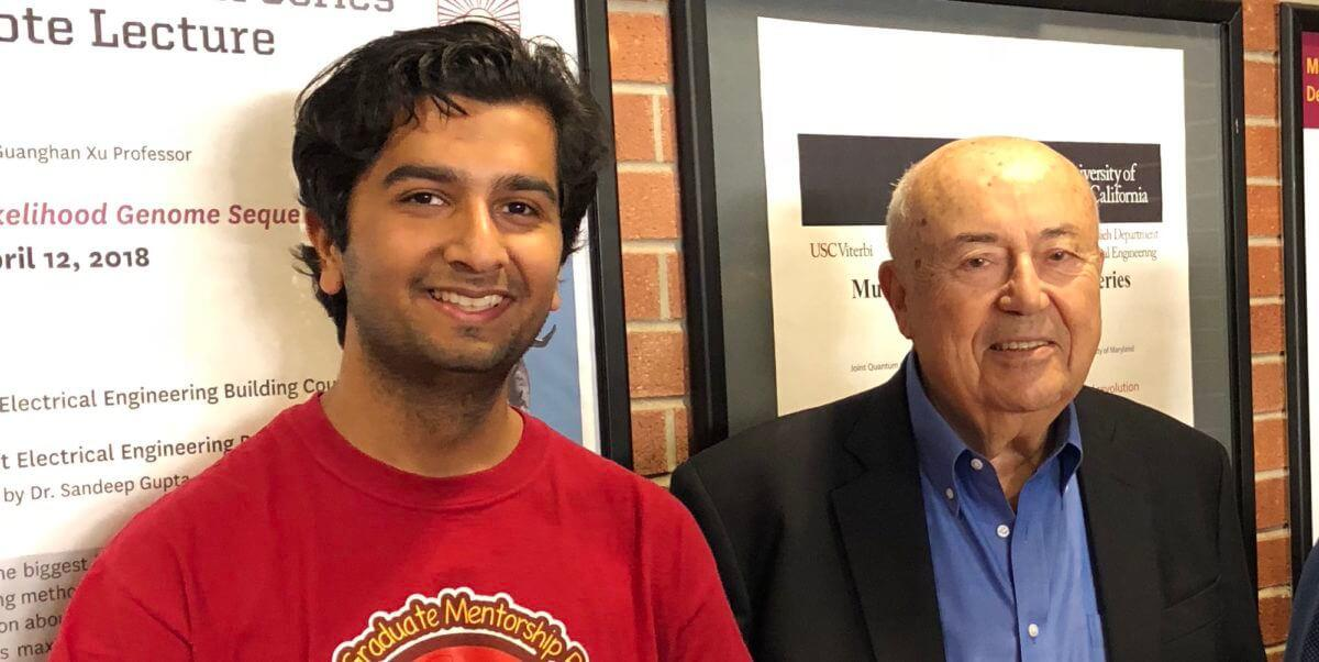 Graduate student Laksh Matai (left) with Dr. Andrew Viterbi at the annual Viterbi Lecture Series. PHOTO CREDIT: USC Viterbi