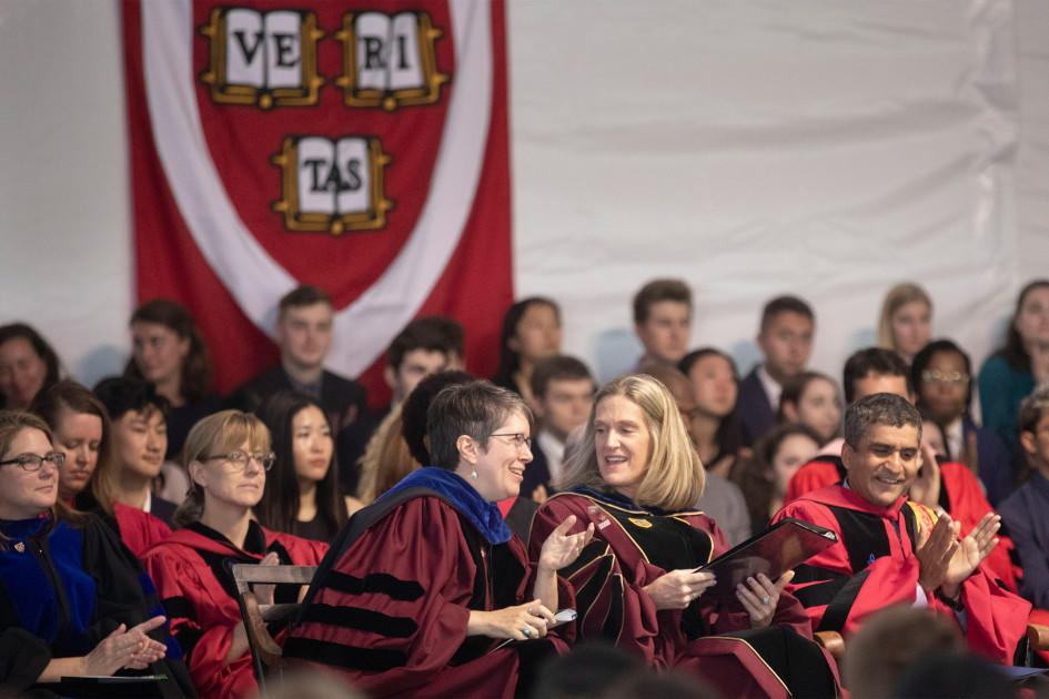 Stephanie Paulsell (left), interim Pusey Minister at the Memorial Church, gave the invocation, and Katherine O'Dair, dean of students, welcomed the Class of 2023 at the convocation.