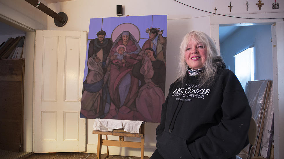 "Vermont Artist Janet McKenzie with her new painting ""The Divine Journey – Companions of Love and Hope"""