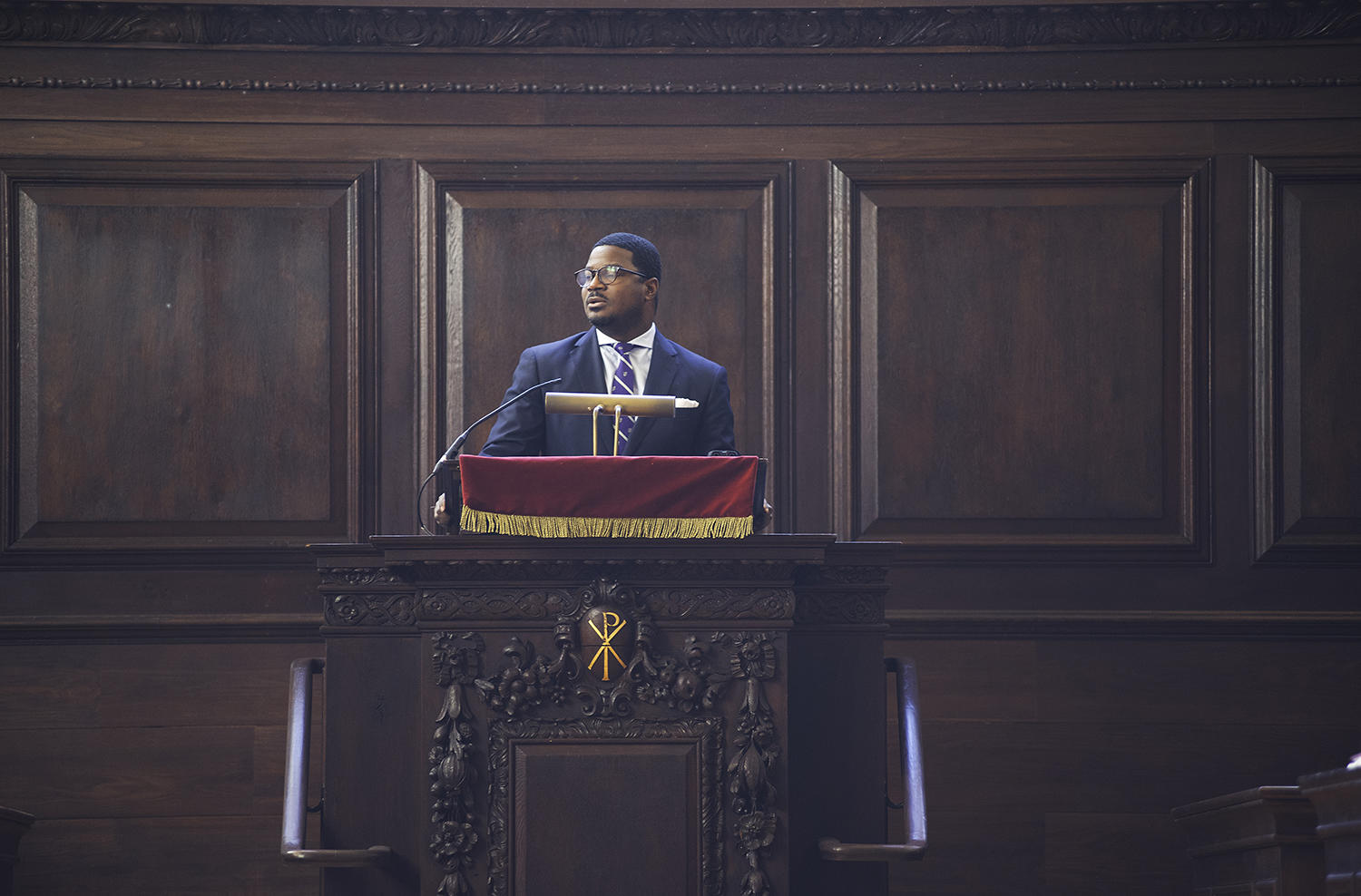 Professor Jonathan L. Walton speaks at Morning Prayers in Appleton Chapel