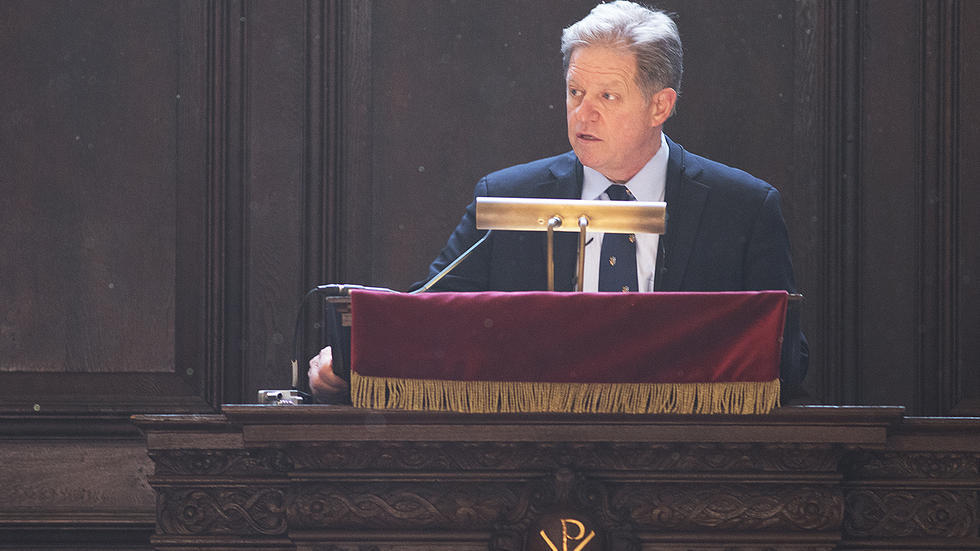 Comedian Jimmy Tingle speaks at Morning Prayers