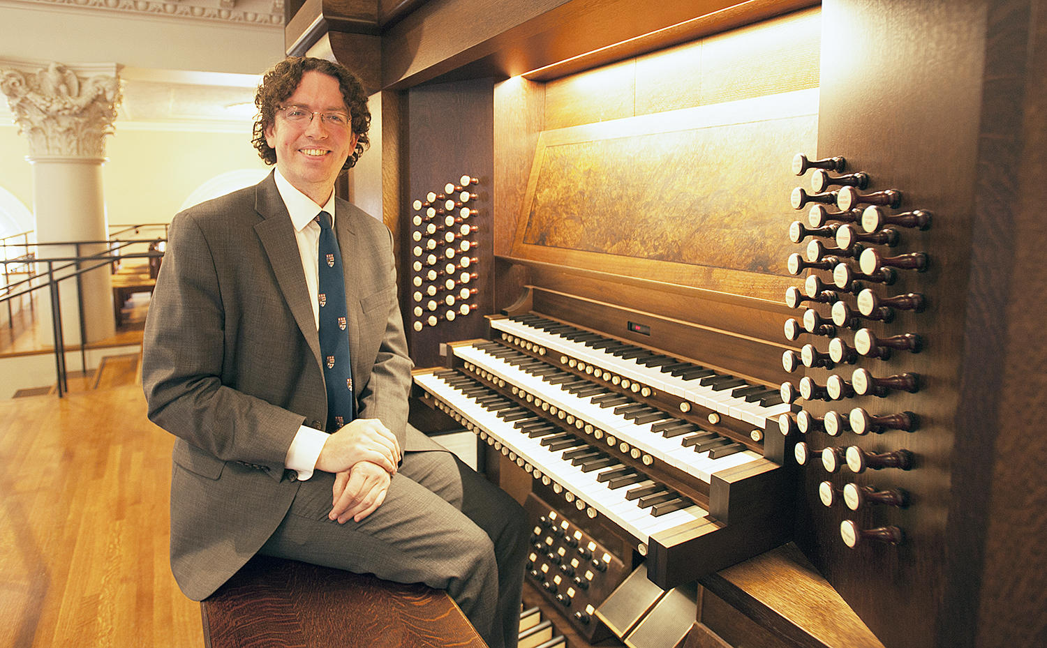 Organist Thomas Sheehan at the keyboard of the CB Fisk Opus 139 (2012): The Charles B. Fisk & Peter J. Gomes Memorial Organ