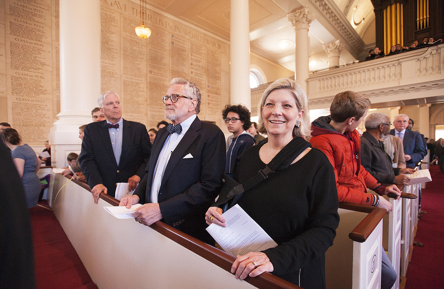 James and Ann Lawson attend Sunday service in the Memorial Church sanctuary