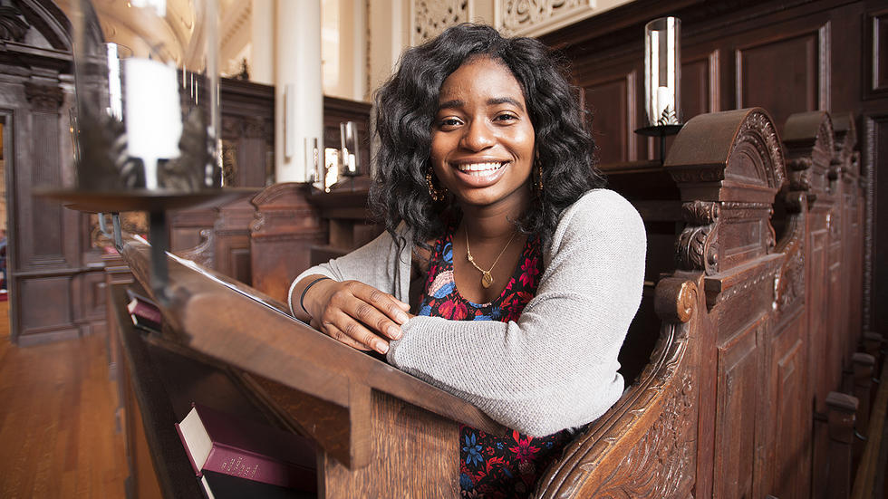 Kanara Swaby '17, Leverett House, speaks at Morning Prayers