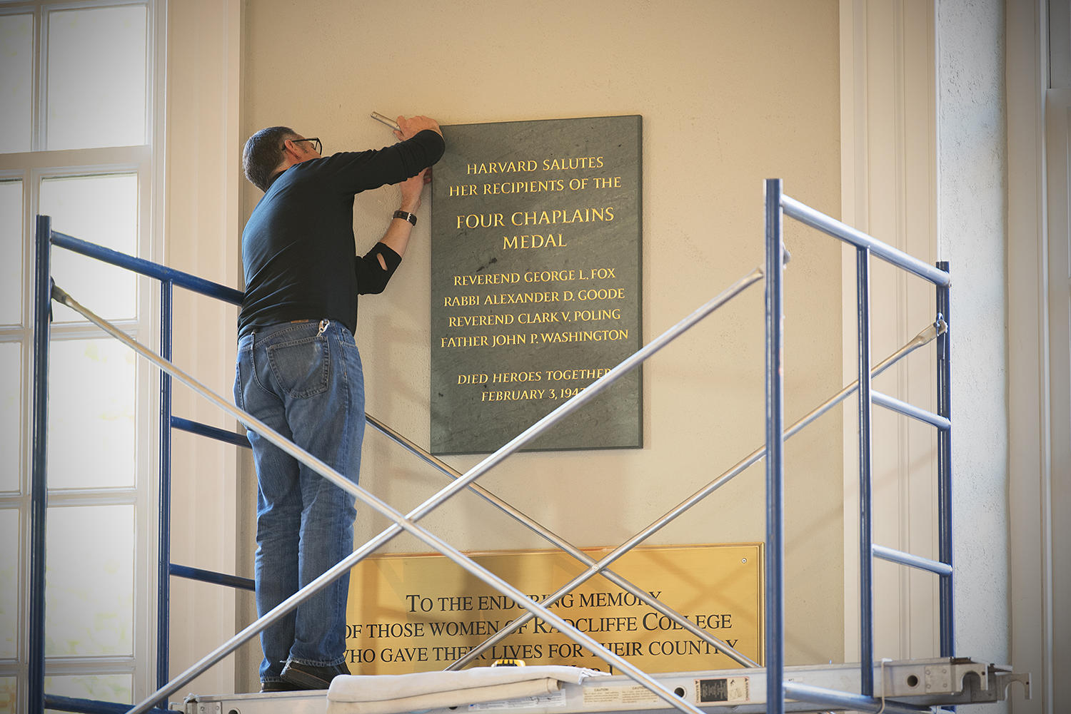 Plaque honoring the Four Chaplains is mounted in Memorial Church