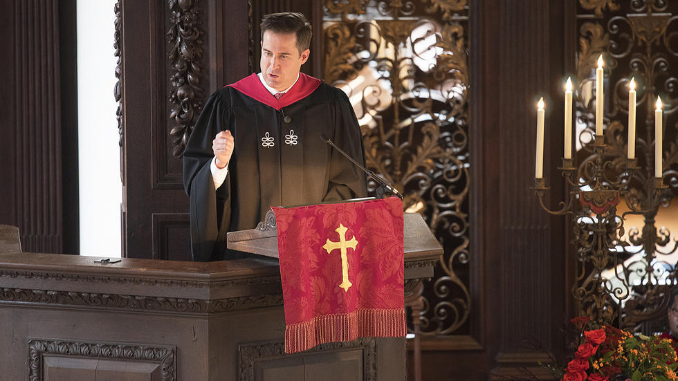 The Hon. Seth Moulton '01 preaches at Memorial Church