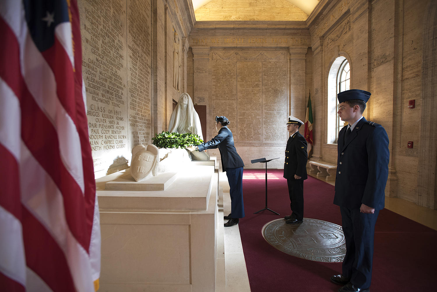 A wreath is placed in the Memorial Room Sunday by ROTC