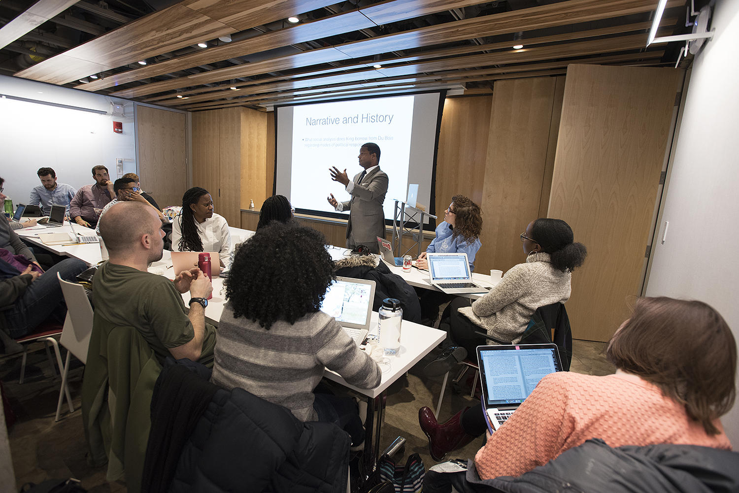 Professor Jonathan L. Walton teaches a class in the Buttrick Room.