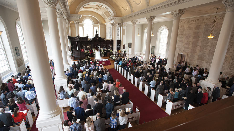 Sunday service in the Memorial Church Sanctuary