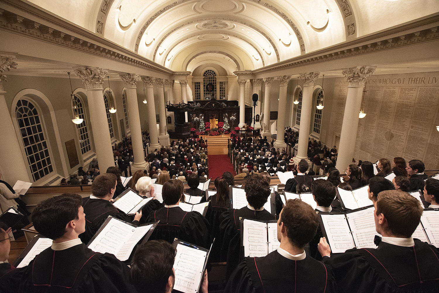 Harvard University Choir sings during the 109th Annual Christmas Carol Service