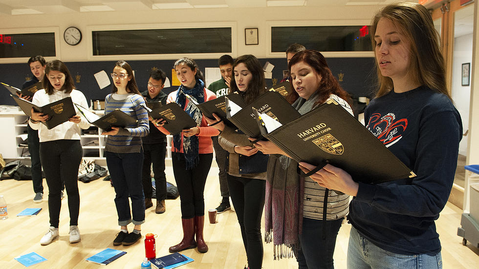 Members of the Harvard University Choir rehearse at Memorial Church before departing on their tour of the UK