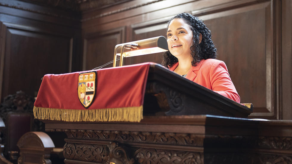 KMarie Tejeda speaks at Morning Prayers