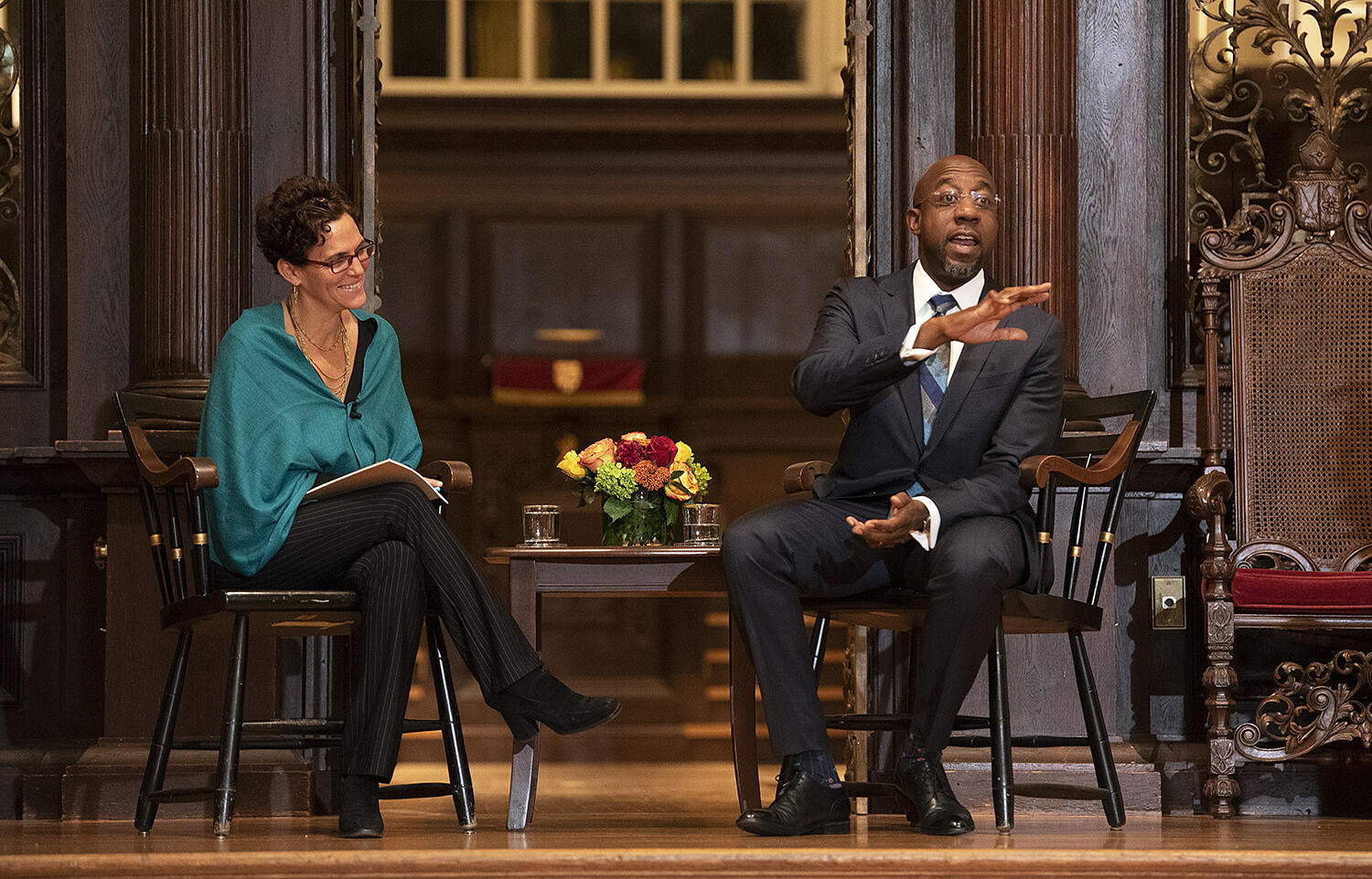 The Rev. Dr. Raphael Warnock answers question as Noble Lecture