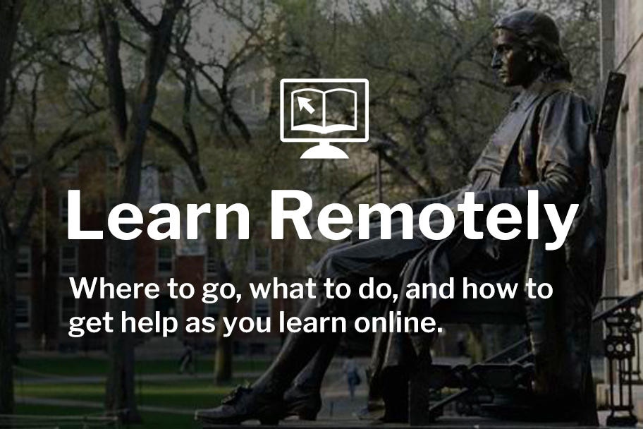 Learn Remotely logo with photo of John Harvard statue