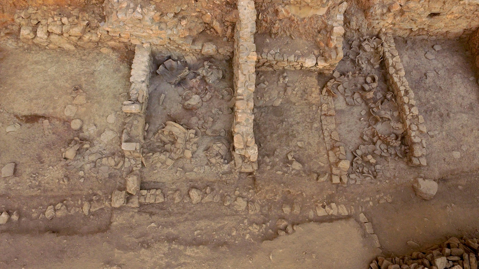 Archaic West Building storerooms during excavation (Azoria Project 2017)