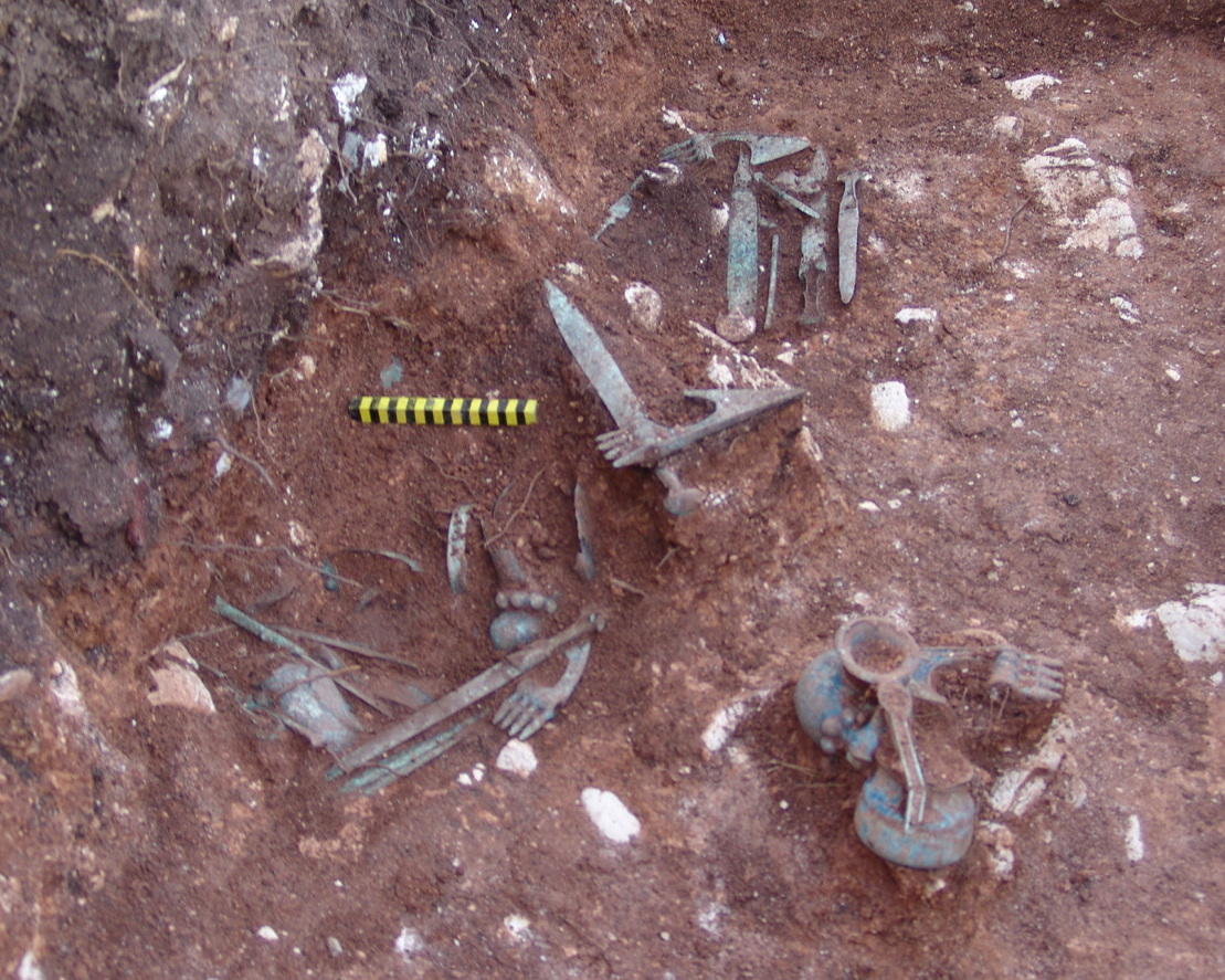 Sangtarashan, 2004, Several metal objects packages in situe, view from the west