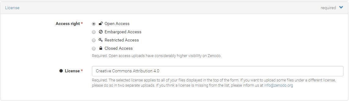 Screenshot of Zenodo upload License section