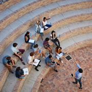 Aerial photo of students on campus