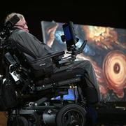 Stephen Hawking speaking at the launch of the Black Hole Initiative at Sanders Theater, Harvard University