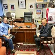 Host Benyamin Cohen (left) interviews Dr. Avi Loeb (right) in his Harvard office. (Photo: From The Grapevine)