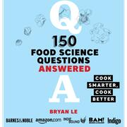 "Bryan Le's book cover (light blue) titled ""150 Food Science Questions Answered"" with the tagline ""Cook smarter, cook better"""