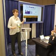 Ellen Brennan presents her poster at the AAAS meeting