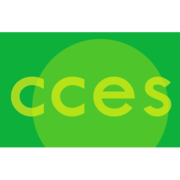 CCES logo, yellow letters on light green circle on green background