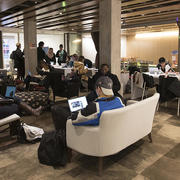 Students hunker down for study and for conversations in the Student Oasis.