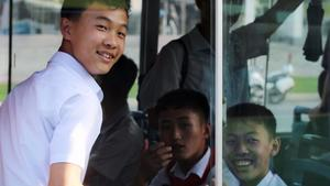 School students on bus in Pyongyang_photo by Esse Chen